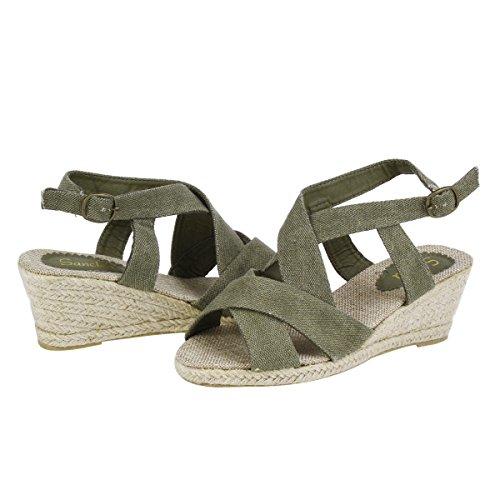 Damara Femmes Sandales Confortable Eté Boucle Type de talons: Compensé Olive