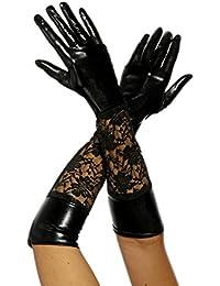 jowiha® Wetlook lange Handschuhe mit Spitze