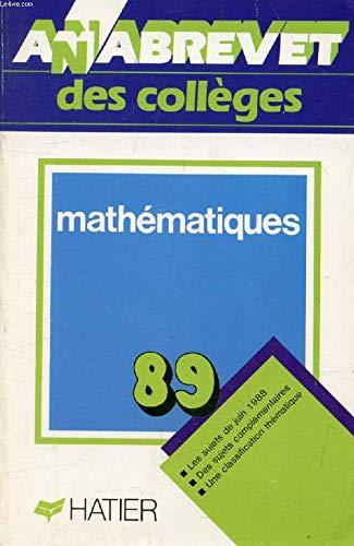 Annabrevet, brevet mathématiques, 1989