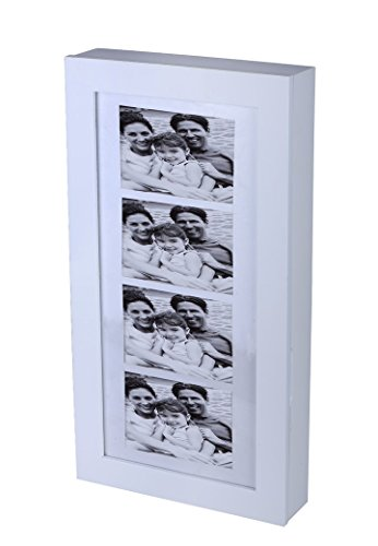 Schmuckschrank Bilderrahmen weiß Holz Wand-Schrank Schmuck Rahmen Ketten Kasten - 2