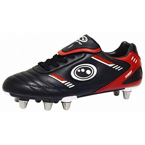 Optimum Tribal Rugby de coffre supérieur synthétique 8Stud Chaussures de Course Baskets noir/rouge