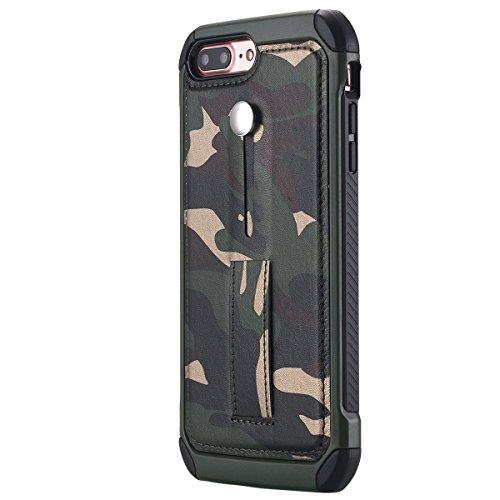 iPhone 7Plus cellulare, iPhone 7Plus Case, lontect [Camo Series]–Cellulare per esterni [iPhone 74.7pollici] Back Cover in Silicone e cover in pelle con motivo mimetico per Apple iPhone 7Plus Camouflage Grün