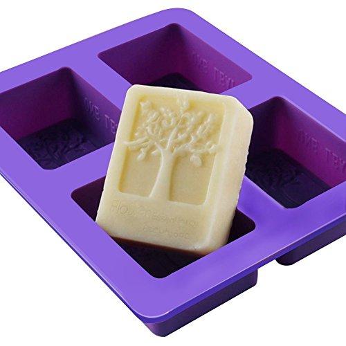(TREESTAR Backform aus Silikon, rechteckig, für Seife, handgefertigt, Gelatin, Zucker, Schokolade, Schokolade, 4 Fächer)