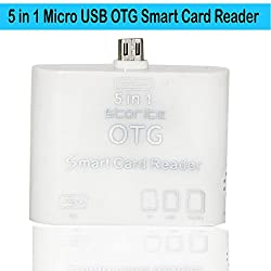 Storite 5 in 1 OTG USB 2.0 Micro Card Reader Connection for Android Mobile and Tab Version 4.2.2 or above - White