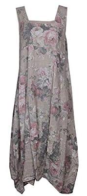 Gracious Girl Women Fade Floral Italian Lagenlook Long Boho Pocket Linen Ladies Tunic Dress