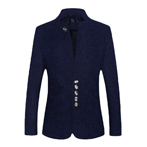 CuteRose Men Plus-Size Stand Collar Sport Coat Long-Sleeve Blazer Dress Suit Navy Blue M -