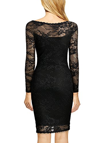 MIUSOL Damen Spitzenkleid Elegant Cocktail U-Ausschnitt Langarm Mini Party Abendkleid Schwarz M -