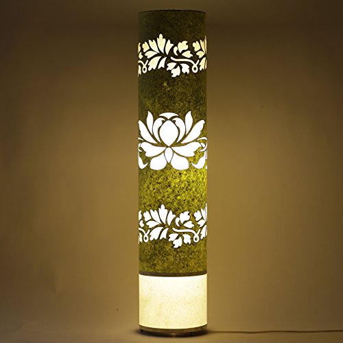handmade-paper-green-white-shade-indoor-floor-lamp-lotus-bed-viving-dining-area-light