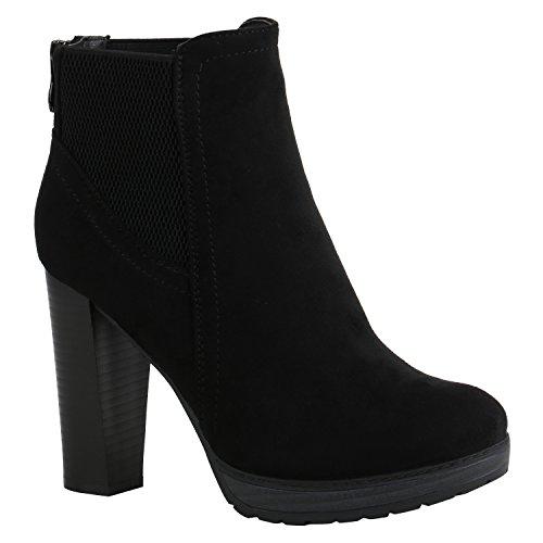 Damen Schuhe Ankle Boots Plateau Stiefeletten Zipper Holzoptikabsatz 156942 Schwarz Zipper Camiri 38 Flandell (Schuhe Boots Ankle)