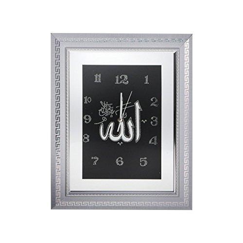 bedibuy Allah Wanduhr IS4050-A-WG Islamische Uhr zur Anrbingung in Allen Wohnräumen 50x39,5cm Weiß-Gold - Islami Duvar Saati Altın Beyaz