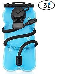 gofriend® 3L & aprobado por la FDA, sin BPA de 3l bolsa de agua (100oz) sistema de depósito de agua de hidratación pack–Mochila exterior, ideal para ciclismo, senderismo, correr, camping, senderismo, azul