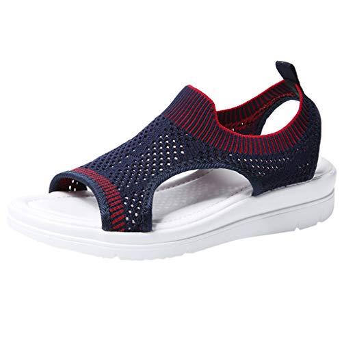 Große Größe Mesh Sandalen für Frauen/Dorical Damen Mädchen Atmungsaktiv Komfort Aushöhlen, Lässige Sommer Wedges Tuch Schuhe Frau Keil Peep Toe Sandals 35-45 EU(Lila,37 EU) -