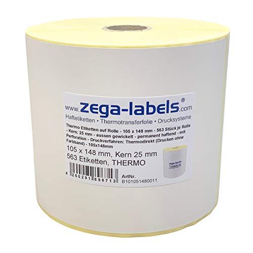 Thermo Etiketten auf Rolle - 105 x 148 mm - 563 Stück je Rolle - Kern: 25 mm - aussen gewickelt - permanent haftend - mit Perforation - Druckverfahren: Thermodirekt (Drucken ohne Farbband)