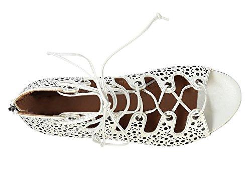 Spartiates Alaïa femme en chevreau blanc - Code modèle: 6S3X737CE23 Blanc