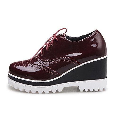VogueZone009 Femme Couleur Unie à Talon Haut Boucle Rond Chaussures Légeres Rouge Vineux