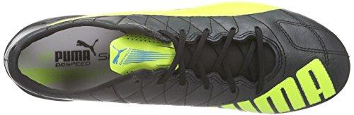Puma evoSPEED SL Lth FG Herren Fußballschuhe Schwarz (black-safety yellow-white 05)