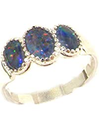 Luxury Sterling Silver Ladies Opal Trilogy Ring