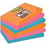 Post-it 6556SE Haftnotiz Super Sticky Notes, 127 x 76 mm, 6 Blöcke à 90 Blatt, neonorange, ultrapink, -blau - in weiteren Größen verfügbar