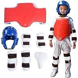 DeWin Kit de Taekwondo - Brassard de Protection pour Enfant, enveloppe Durable de Taekwondo, Boxe Karaté Crotch Taekwondo, Ensemble de Protection, 7 pièces (Taille : M)