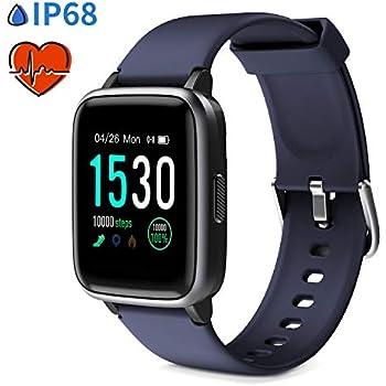 Glymnis Reloj Inteligente Smartwatch IP68 14 Modos de Deporte Pulsera Actividad con Pantalla Completa Táctil Podómetro Cronómetros Notificación de ...