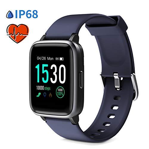 """Glymnis Smartwatch Smart Uhr Sport Uhr Fitness Armband mit Schrittzähler Schlafanalyse Touchscreen 50 M Wasserdicht Armbanduhr 30 Tage Standby 1,3\""""großer Bildschirm für Android iOS (Blau)"""