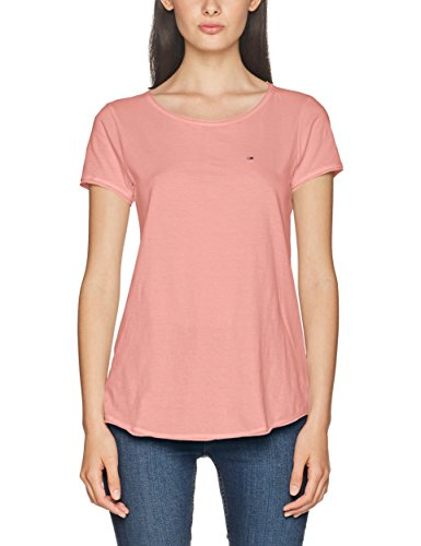 Tommy Jeans Damen T-Shirt TJW Basic CN Knit S/S 14, Rosa (Blush 682), Large (Denim-t-shirt-jeans)