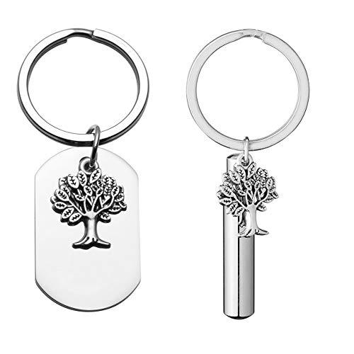 JOVIVI Edelstahl Lebensbaum Anhänger Dogtag Schlüsselring Baum des Leben Pendant Asche Urne Flasche Paar Schlüsselanhänger
