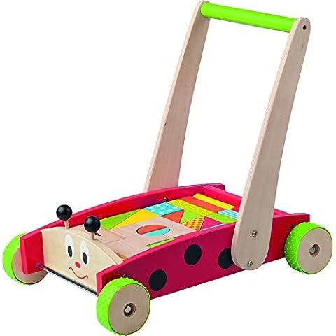 Woody Madera - andador con bloques de madera de colores en la mariquita Diseño