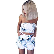 HOMEBABY Women 2PC Top & Short Set Outfit,Ladies Print Casual Clubwear Vest Playsuit for Holiday Summer Shorts Off The Shoulder Jumpsuit Rompers Beachwear Summer Clothes