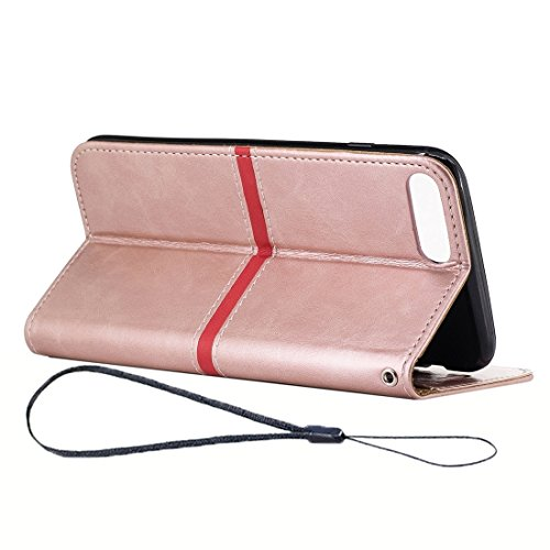 YAN Für iPhone 7 Plus Textur PU Leder Horizontale Flip Leder Tasche mit Halter & Card Slots & Wallet & Photo Frame & Lanyard ( Color : Gold ) Rose gold