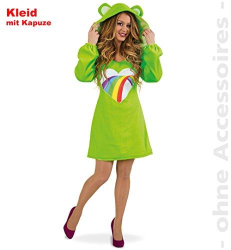 Damen Kostüm Bärli Kleid grün Bärchen Fasching Bär Spaßkostüm (M) (Rot Glücksbärchi Kostüm)