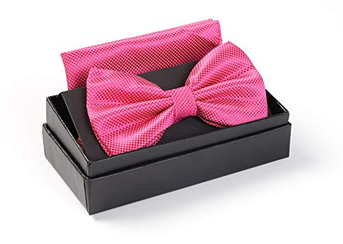 Massi Morino  Nœud Papillon avec Pochette Coordonnée – Bande Réglable – Aspect Soyeux et Satiné – Boite Cadeau