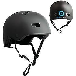 Bluewheel Casque H30 pour Gyropode, Skateboard, BMX, vélo, Structure à 3 Couches pour Plus de sécurité et de Confort, système d'aération, Design Noir Mat Adaptable, pour Enfants et Adultes, 50-56 cm