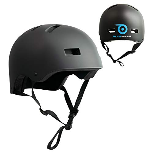 Bluewheel Helm H30 für Hoverboard, Inline-Skate, BMX Fahrrad; 3 schichtiger Aufbau für mehr Sicherheit und Tragekomfort, mit Belüftungssystem, passgenau in matt schwarz - für Kinder & Erwachsene (Skating Helm)