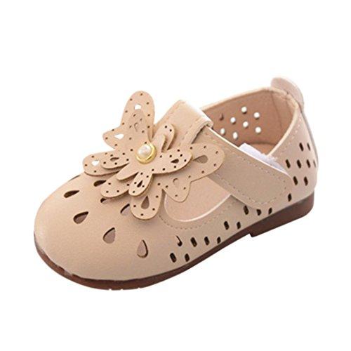 HUIHUI Baby Schuhe, Pricness Geschlossene Ballerinas Pearl Single Hollow Sandals Kinder Floral Beach Sandals Mädchen Hausschuhe Mary Jane Halbschuhe (17 (6-12M), Beige)