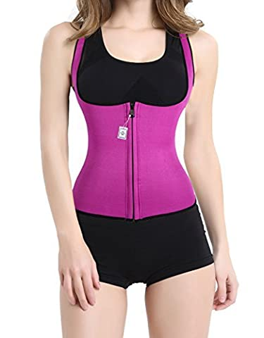 Hot Thermo Sweat Body Shaper Shirt Women's Tank Top Vest For Sport Gym Yoga Slimming (L, Rose Red)