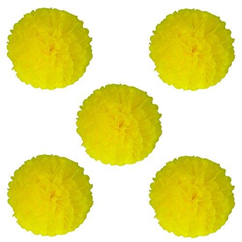 vlovelife 25,4cm Seidenpapier Pom Poms Girlanden aus Papier Papier Kugel Blumen für Hochzeit Party Geburtstag Baby Dusche Dekorationen 10Stück gelb
