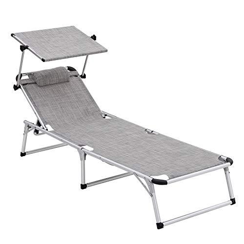 SONGMICS Sonnenliege aus Aluminium, klappbarer Liegestuhl, 193 x 67 x 32 cm, 250 kg max. statische Belastbarkeit, Kunstfasergewebe, Kopfkissen abnehmbar, Sonnendach verstellbar GCB19TG -