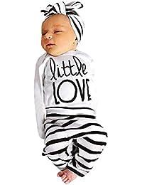 SamMoSon ☀☀Camisas para Bebés Niño,Recién Nacido Bebé Niña Manga Larga Letra Tops + Stripe Pants Diadema Ropa Conjunto