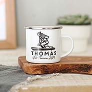 Personalised Ski Holiday Enamel Mug
