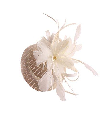 SugarShock Headpiece Fascinator Damen Pillbox Hut, Farbe:cremé, Größe:OneSize