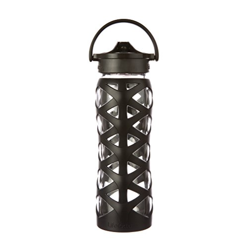 Lifefactory 22oz Glass Bottle with Axis Straw Cap - Onyx