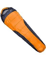 Klarfit Gullfoss saco de dormir tipo momia (230x80x55 cm, resistente humedad, relleno fibra, gran aislamiento, capucha con cordel, bajo peso 1,5 kg, manejable) - naranja