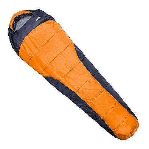 Klarfit Gullfoss Schlafsack (1,5 kg, Mumienschlafsack, 230 x 80 cm, 2-lagig, Kunstfaser, 2-Wege-Reißverschluss, bis -5 °C) orange