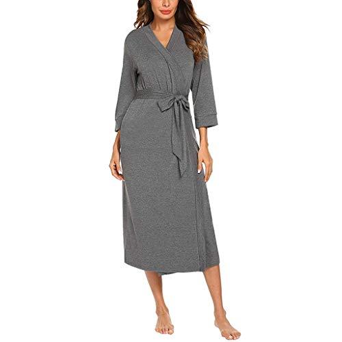 WooCo Sommer Sale Damen Bademantel Nachtwäsche Long Robe - 4/3 Ärmel V-Ausschnitt Leichtes Nachthemd mit Gürtel Robe Bademantel(Dunkelgrau,XXL)