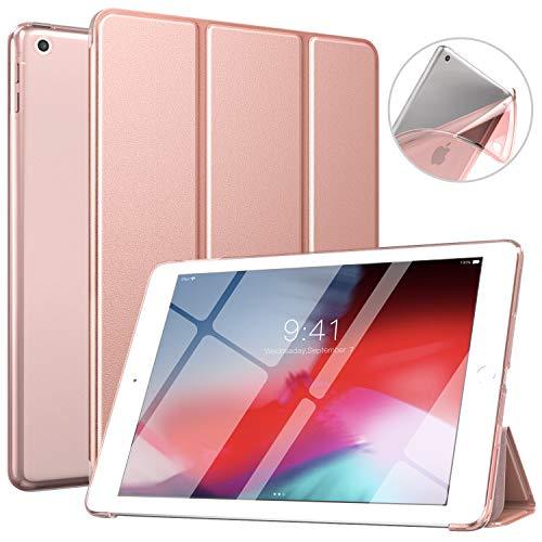 MoKo Hülle Kompatibel für iPad 9.7 5th/6th Generation, PU Leder Tasche Schutzhülle mit Transluzent Rücken Deckel für iPad 9.7