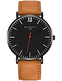 DISTRICT London Rouge Edition Mens Genuine Leather Brown Band Quartz Wrist Watch Mens Luxury Classic Simple Casual Design Black Dial Business Fashion Wristwatch Scratch Resistant Dress Watches for Men