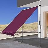 QUICK STAR Tendalino a Morsetto 200 x 130 cm Vetrina Manuale Terrazza per Giardino per Esterni Balcone Bordeaux