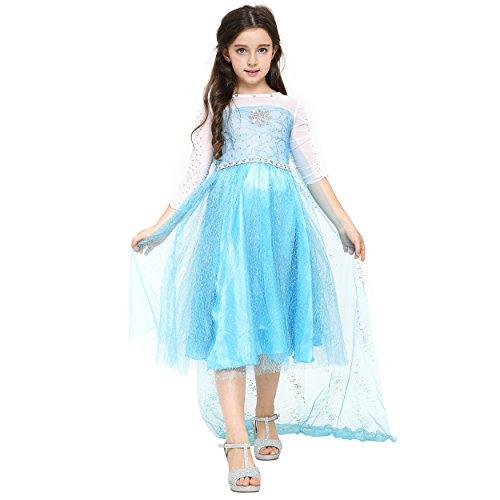 Katara 1757-104/110 - Prinzessin Elsa Mädchen Kinder-Kostüm - Kleid aus Disney Frozen Die Eiskönigin - Verkleidung mit Strass, Pailletten, Schleier Zu Karneval, Fasching, Geschenk Weihnachten, blau