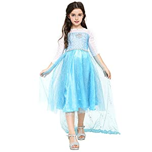 Katara - Disfraz de Princesa Elsa de Frozen - vestido elegante con tren largo y diamantes de imitación para niñas de 8 y 9 años - azul luminoso